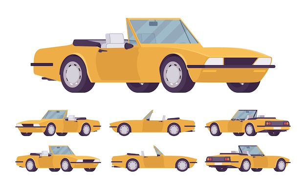 Zestaw samochodów żółty kabriolet. samochód osobowy roadster ze składanym dachem, składanym dachem, dwoma siedzeniami, luksusowym miejskim samochodem, aby cieszyć się podróżą i podróżą. ilustracja kreskówka styl