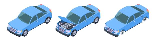 Zestaw samochodowy izometryczny