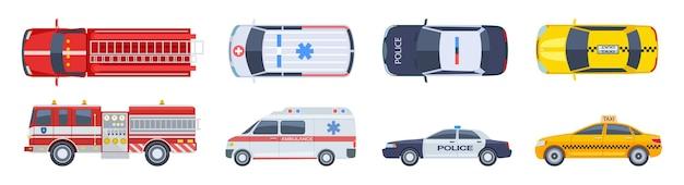 Zestaw samochodowy. widok z góry transportu. samochód policyjny karetka pogotowia strażacki taxi wektor mieszkanie na białym tle. ikony miejskiego transportu specjalnego. ilustracja top samochodowy, taksówka i policja, auto i pogotowie ratunkowe