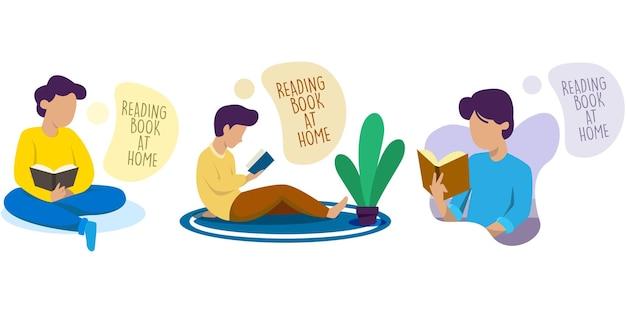 Zestaw samodzielnej kwarantanny czytanie książki w domu ilustracja koncepcja projektu