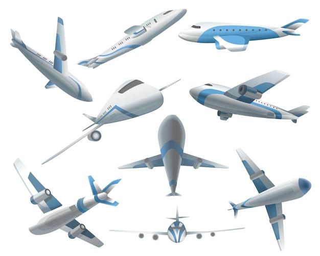 Zestaw samolotów na różnych pozycjach dla komercyjnej floty lotniczej