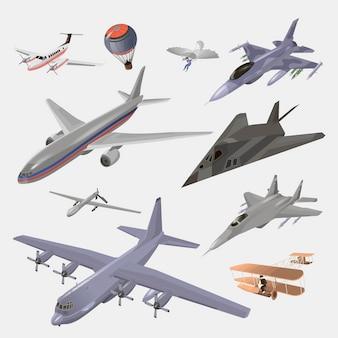 Zestaw samolotów wojskowych, cywilnych i pasażerskich. transport i samolot ilustracja i zestaw elementów projektu. armia latająca maszyna.