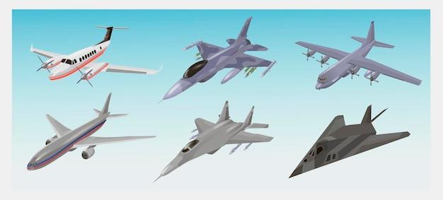 Zestaw samolotów wojskowych. myśliwiec, f-117 nighthawk, przechwytujący, samolot cargo, ilustracje wektorowe bombowca na białym tle. maszyna latająca armii. dla koncepcji lotnictwa wojskowego.