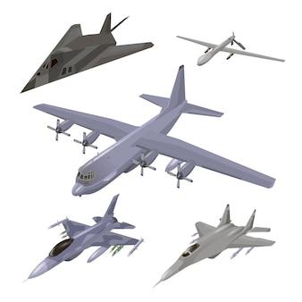 Zestaw samolotów wojskowych. myśliwiec, f-117 nighthawk, przechwytywacz, samolot transportowy, ilustracje drona szpiegowskiego ustawione na białym tle.