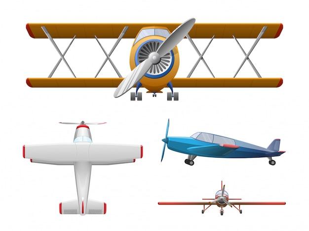 Zestaw samolotu w stylu kreskówka na białym tle. samolot śmigłowy rolniczy
