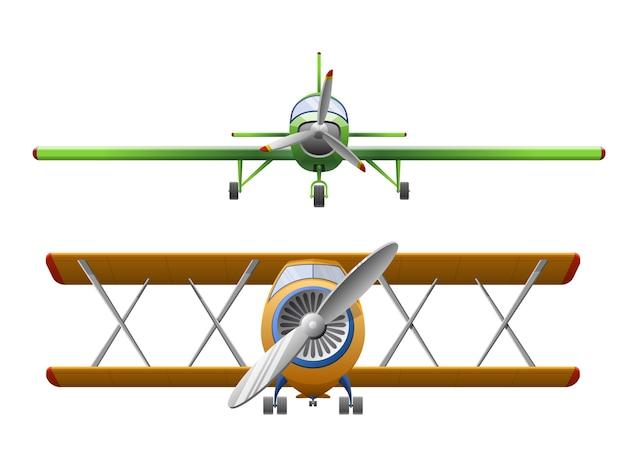 Zestaw samolotu w stylu kreskówka na białym tle