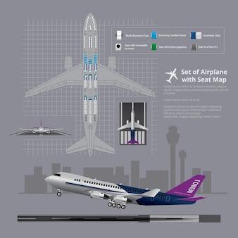 Zestaw samolotu z ilustracji na białym tle mapę siedzenia