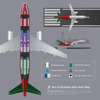 Zestaw samolotu z mapą miejsc na białym tle