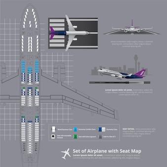 Zestaw samolotu z mapa miejsc na białym tle