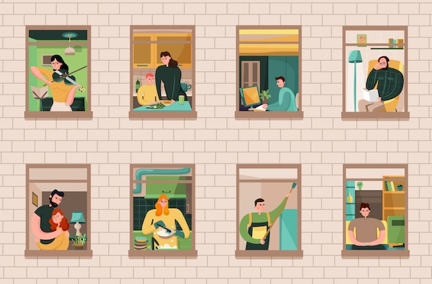 Zestaw sąsiadów podczas różnych działań w oknach domu na mur z cegły