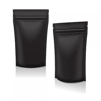 Zestaw saszetek z czarną folią do pakowania żywności lub kosmetyków do pakowania z zamkiem błyskawicznym. temlate