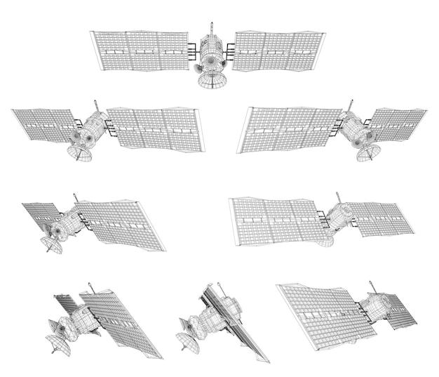 Zestaw. satelita komunikacyjny na orbicie bliskiej ziemi. kosmiczna technologia przyszłości.
