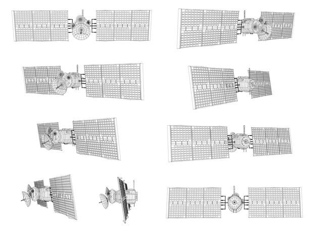 Zestaw. satelita komunikacyjny na orbicie bliskiej ziemi.