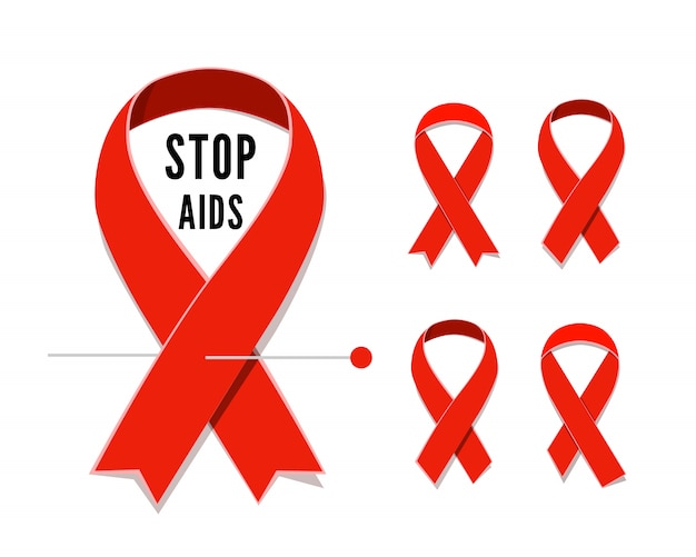 Zestaw satynowych wstążek czerwony świadomości aids na białym tle. ilustracja symbolu solidarności z osobami zakażonymi wirusem hiv i mieszkającymi z. pętelka z satynowej wstążki