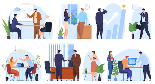 Zestaw scen biurowych. kobiety i mężczyźni pracujący w biurze, spotkania biznesowe, podpisywanie umów,
