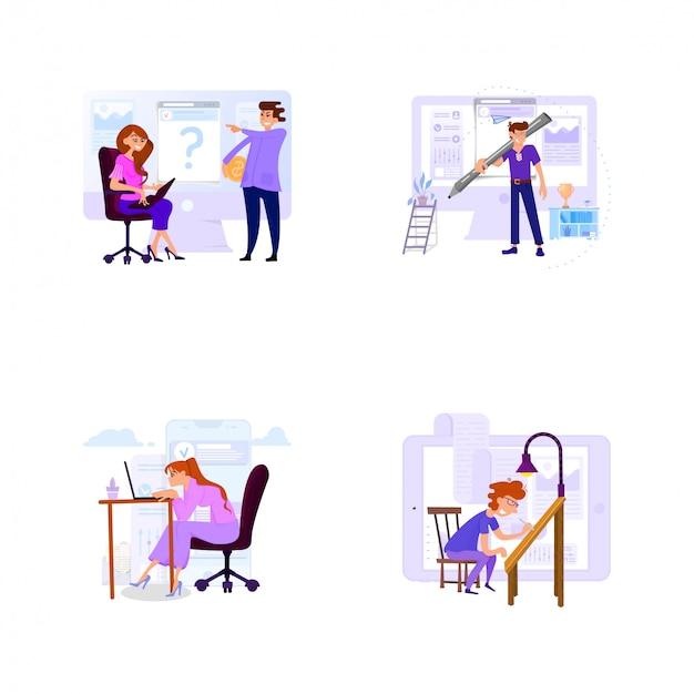 Zestaw scen biznesowych z małymi mężczyznami i kobietami w biurze do pracy i z klientami.