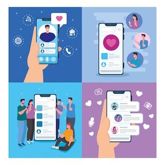 Zestaw scen czatu online w smartfonach młodych ludzi, koncepcja mediów społecznościowych