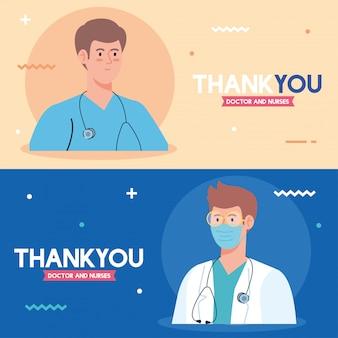 Zestaw scen, dziękuję lekarzowi i pielęgniarkom pracującym w szpitalach, walczących z koronawirusem covid 19