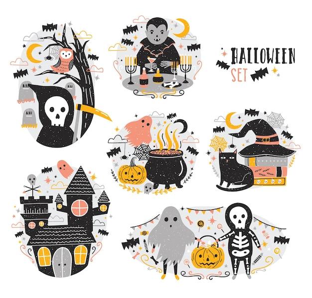 Zestaw scen halloween z zabawnymi i przerażającymi postaciami z kreskówek - wampirem, duchem, szkieletem, ponurym żniwiarzem, latarnią dyniową, nietoperzami. przerażająca i przerażająca bajka. ilustracja wektorowa uroczysty.