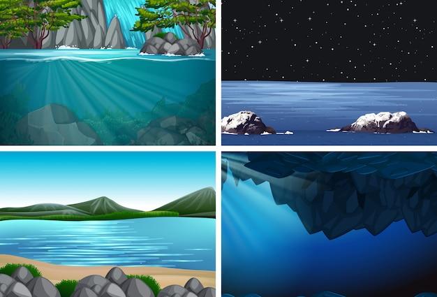 Zestaw scen ilustracji wody