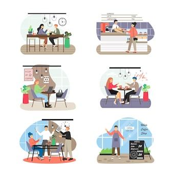 Zestaw scen kawiarni, płaskie wektor ilustracja na białym tle.
