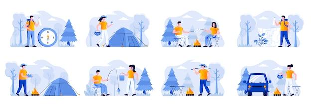 Zestaw scen kempingowych z postaciami ludzi. polowanie na grzyby, podróżowanie z plecakiem i namiotem kempingowym, pieczenie prawoślazu na ognisku, sytuacje wędkarskie. letni camping płaski ilustracja.