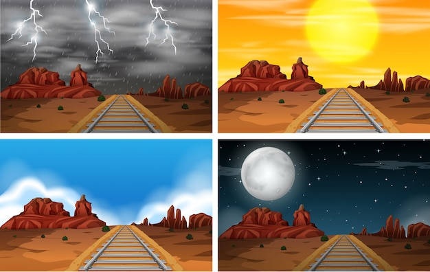 Zestaw scen kolejowych pustyni