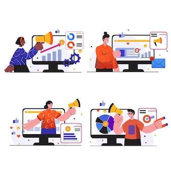 Zestaw scen koncepcji marketingu cyfrowego. ludzie tworzą reklamy cyfrowe, promują biznes w internecie, pozyskują klientów z sieci społecznościowych. kolekcja ilustracji wektorowych w modnej płaskiej konstrukcji