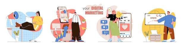 Zestaw scen koncepcji marketingu cyfrowego marketerzy sprawiają, że reklama przyciąga klientów promocja w sieciach społecznościowych zbiór działań ludzi