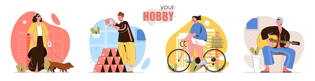 Zestaw scen koncepcyjnych dla hobby kobiety spacerujące z psem lub jeżdżące na rowerze mężczyźni budujący domek z kart lub uczący się gry na gitarze kolekcja zajęć wykonywanych przez ludzi