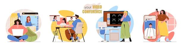 Zestaw scen koncepcyjnych do wideokonferencji mężczyźni i kobiety prowadzą rozmowy wideo na czacie online ze znajomymi lub współpracownikami. zbiór czynności wykonywanych przez ludzi