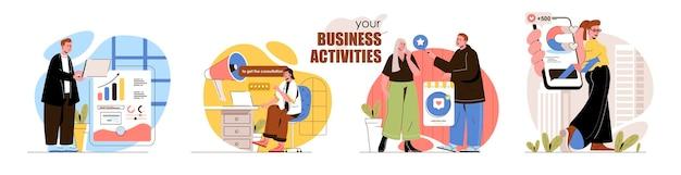Zestaw scen koncepcyjnych działań biznesowych analiza statystyk promocja marketingu cyfrowego w sieciach społecznościowych zbiór działań ludzi