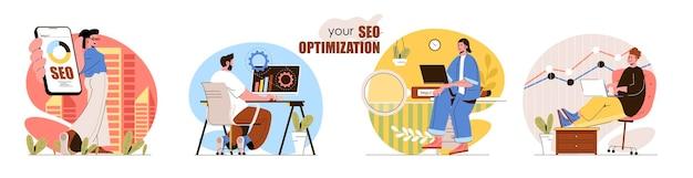 Zestaw scen koncepcyjnych optymalizacji seo ustawienia wyszukiwania analiza danych zwiększa ruch marketingowy, reklama online zbieranie aktywności ludzi