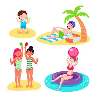 Zestaw scen letnich kreskówek