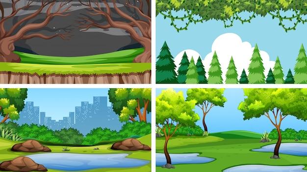 Zestaw scen lub tła w otoczeniu przyrody