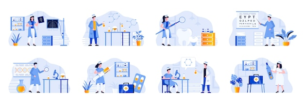 Zestaw scen medycznych zawiera postacie ludzi. diagnostyka laboratoryjna, badania farmakologiczne, okulistyka, radiologia i stomatologia. ilustracja płaskie diagnozy i leczenia