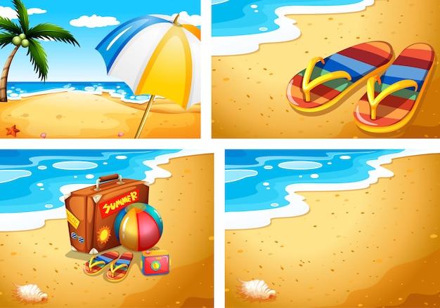 Zestaw scen na plaży latem