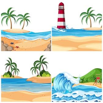 Zestaw scen na świeżym powietrzu, w tym plaża