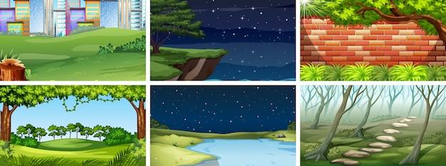 Zestaw scen natury lub tła w dzień iw nocy