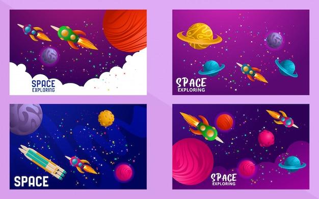 Zestaw scen o wszechświecie, podróż kosmiczna. projekt. ilustracji wektorowych