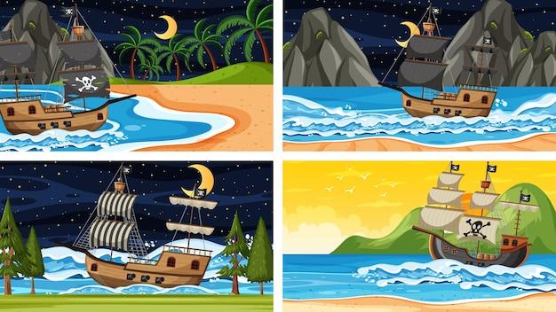 Zestaw scen oceanicznych w różnym czasie ze statkiem pirackim w stylu kreskówki