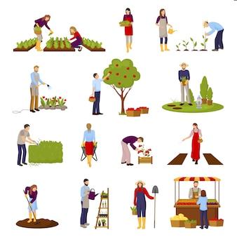 Zestaw scen ogrodniczych