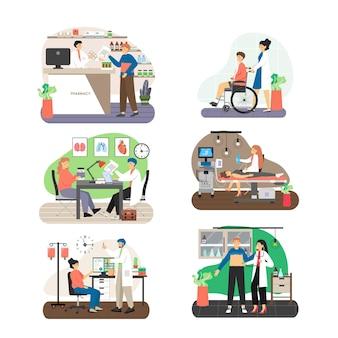 Zestaw scen pacjenta wizyty u lekarza