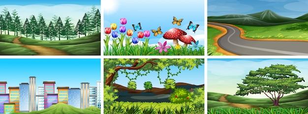 Zestaw scen parku, pola i przyrody