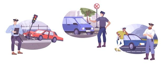 Zestaw scen policji drogowej