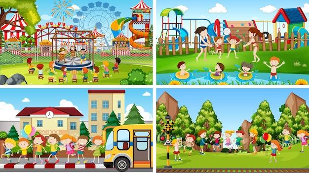 Zestaw scen przedstawiających dzieci w szkole, parku i podczas zabawy w basenie