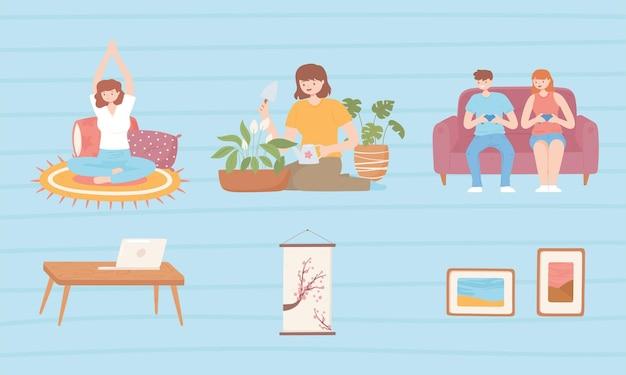 Zestaw scen przedstawiających ludzi cieszących się swoim hobby