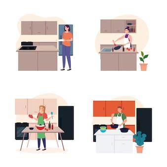 Zestaw scen przedstawiających młodych ludzi gotujących w kuchni