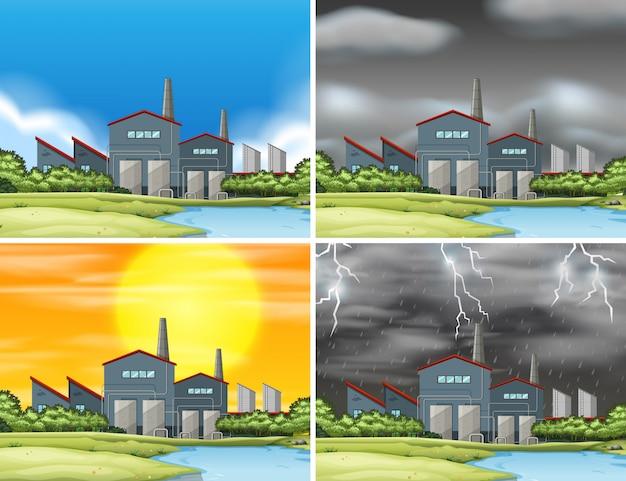 Zestaw scen przemysłowych fabryka