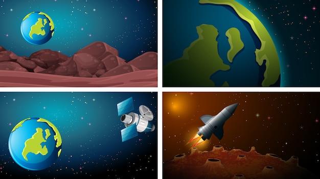 Zestaw scen przestrzeni kosmicznej